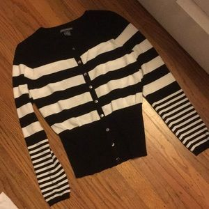 Black and white stripped sweater top medium